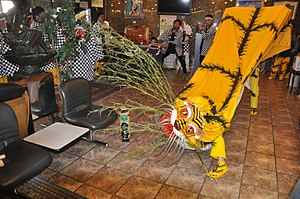 Tiger dance - Tiger dance of Kamaishi, Iwate, performed in the lobby of a hotel, Kitakami, Iwate
