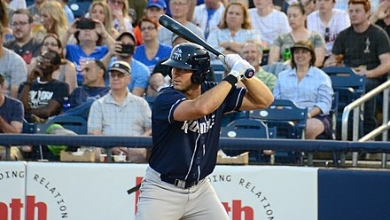 Tebow with Binghamton, June 2018 Tim Tebow - Binghamton Rumble Ponies - 09Jun18.jpg