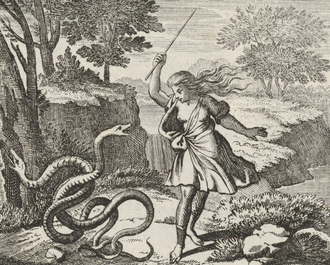 Tiresias - Tiresias strikes two snakes with a stick, and is transformed into a woman by Hera. Engraving by Johann Ulrich Kraus c. 1690. Taken from Die Verwandlungen des Ovidii (The Metamorphoses of Ovid).