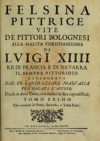 Carlo Cesare Malvasia - Title page of Felsina pittrice, vol. 1 (1678)