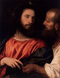 The Tribute Money by Titian depicts Jesus being shown the tribute penny