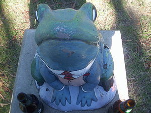 The toad outside of Toad Hall, ANU Canberra. I...