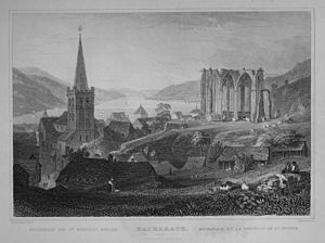 Bacharach - Wernerkapelle in an engraving by William Tombleson