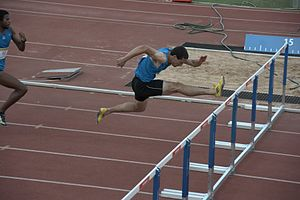Maccabiah sports - Tomer Almogi (Israeli hurdler) at the 110-meter Men's Hurdles finals.