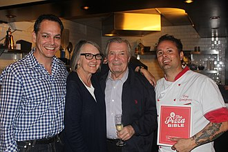 Tony Gemignani at his restaurant Tony's Pizza Napoletana for The Pizza Bible release party on October 21st, 2014 with Susie Heller, Steve Siegelman, and Jacques Pepin. TonySteveSusieJacques.JPG