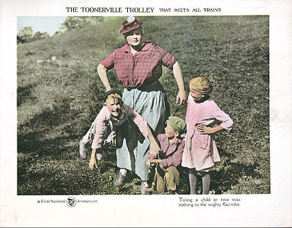 Toonerville Trolley with Wilna Hervey, 1920 Toonerville Trolley lobby card.jpg