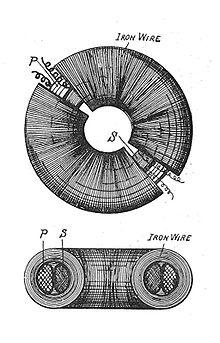 Toroidal shell transformer (Rankin Kennedy, Electrical Installations, Vol II, 1909).jpg