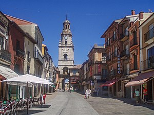 Toro, Zamora - A street in Toro with the Torre del Reloj at background.