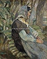 Toulouse-Lautrec - VIEILLE FEMME ASSISE SUR UN BANC A CELEYRAN, 1882, MTL.76.jpg
