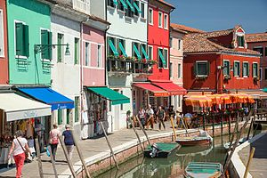 Tourism on the Canal in Burano (Venice)