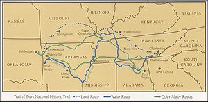 Map of portion of the Trail of Tears showing C...