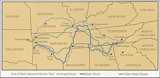 Clarksville, Tennessee - Map of portion of the Trail of Tears showing Cherokee removal routes