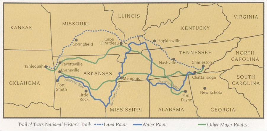 Trail of tears map NPS