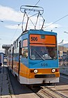 Tram in Sofia in front of Central Railway Station 2012 PD 095.jpg