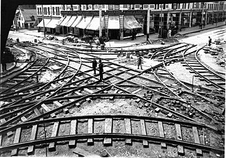 Société de transport de Montréal - Tramway crossing under construction at Ste. Catherine and St. Lawrence in 1893