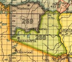 Map of the Crow Wing River area