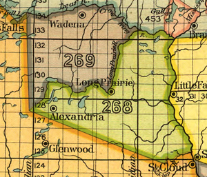 Treaty of Fond du Lac - Land ceded by the treaty of Fond du Lac in 1847, designated 268 (green) on the map.