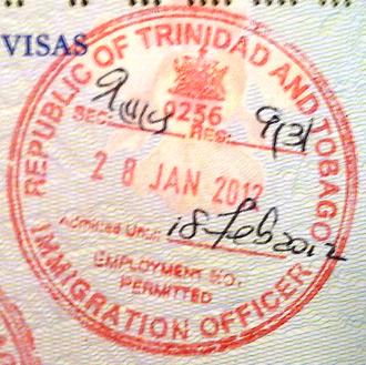 Visa policy of Trinidad and Tobago - Trinidad and Tobago entry stamp