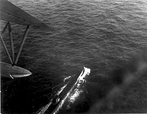 Brazilian Air Force - German submarine U-199 under attack by Brazilian Air Force PBY Catalina during the Battle of the Atlantic, 1943.
