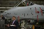 U.S. Defense Secretary Ash Carter speaks to service members during a troop event on Osan Air Base in South Korea, April 9, 2015 150409-D-AF077-1320.jpg
