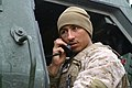 U.S. Marine Corps Sgt. Ricardo A. Monge, a launcher chief with 3rd Platoon, Tango Battery, 5th Battalion, 11th Marine Regiment, receives information from the fire direction center during a dry-fire drill for the 120226-M-XZ121-040.jpg