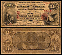 $10 National Gold Bank Note, The First National Gold Bank of Oakland