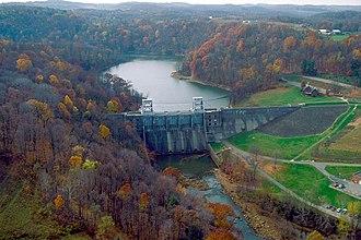 Loyalhanna Creek - Loyalhanna Lake and Dam on Loyalhanna Creek in Westmoreland County, Pennsylvania looking upriver toward the west-northwest