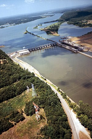 Muskogee County, Oklahoma - The Arkansas River in Muskogee County. The Webbers Falls Lock and Dam on the river are part of the navigation system on the river, maintained by the U.S. Army Corps of Engineers.