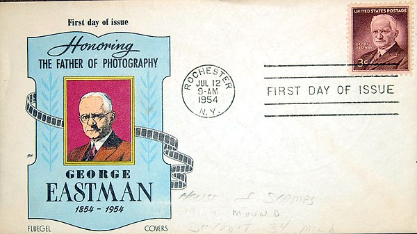 A first day cover honoring George Eastman 1954 USPOD George Eastman 1954 First Day Cover.jpg
