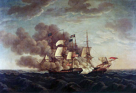 USS Constitution defeats HMS Guerriere in a single-ship engagement. The battle was an important victory for American morale. USS Constitution vs Guerriere.jpg