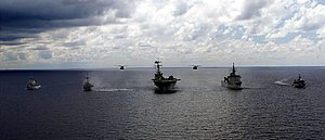 USS Guardian (MCM-5), USS Patriot (MCM-7), USS Inchon (MCS-12), JS Bungo (MST-464), and JS Yaeyama (MSO-301) steam in formation, -7 Jun. 2001 a.jpg