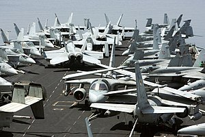 USS John C. Stennis - Aircraft parked on the flight deck of USS John C. Stennis.