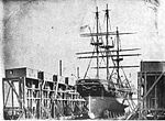 USS St. Mary's (1844) in drydock at Mare Island.jpg