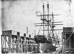USS St. Mary's in drydock at Mare Island Naval Shipyard, ca. 1854