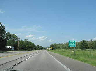 U.S. Route 23 in Michigan - Welcome sign at Omer