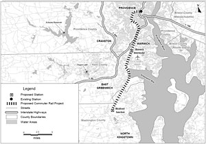 Providence/Stoughton Line - Map of South County Commuter Rail project, showing the extension to T.F. Green Airport and Wickford Junction