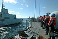 US Navy 060626-N-2456S-284 USS Boone (FFG 28) Sailors handle a line while performing an underway replenishment (UNREP) with the Spanish replenishment ship SPS Patino in the Atlantic Ocean.jpg