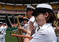 US Navy 070517-N-0773H-034 Musician 1st Class Jennifer D. Smith performs patriotic music with the U.S. Navy Ceremonial Band on the infield of RFK Stadium to open an afternoon baseball game between the Washington Nationals and A.jpg