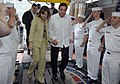 US Navy 070709-N-0194K-183 President Martin Torrijos of Panama and first lady Vivian de Torrijos are welcomed by sideboys as they board the Military Sealift Command hospital ship USNS Comfort (T-AH 20).jpg