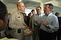 US Navy 070907-N-0194K-166 From right) Secretary of Health and Human Services Michael Leavitt speaks with U.S. Public Health Service Cmdr. Thomas White during his tour of the Military Sealift Command hospital ship USNS Comfort.jpg