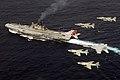 US Navy 070907-N-8591H-194 F-A-18F Super Hornet Strike Fighter Squadron 102, F-A-18E Super Hornet Strike Fighter Squadron 27, Indian Navy Sea Harriers, Indian Air Force Jaguars over INS Viraat (R 22), Malabar 07-2.jpg