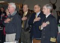 US Navy 080117-N-9860Y-001 Dick Devlin, Oak Harbor Navy League president, Jim Slowik, Mayor of Oak Harbor, and Capt. Gerral David, Naval Air Station (NAS) Whidbey Island commanding officer, recite the.jpg