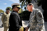 US Navy 100323-N-0000X-003 Chief of Naval Staff of the Pakistan Navy Adm. Noman Bashir is greeted by Gen. David Petraeus, commander of U.S. Central Command