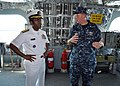 US Navy 100428-N-3265K-082 Vice Adm. Mel Williams Jr., commander of U.S. 2nd Fleet, speaks with Cmdr. Ken Coleman.jpg