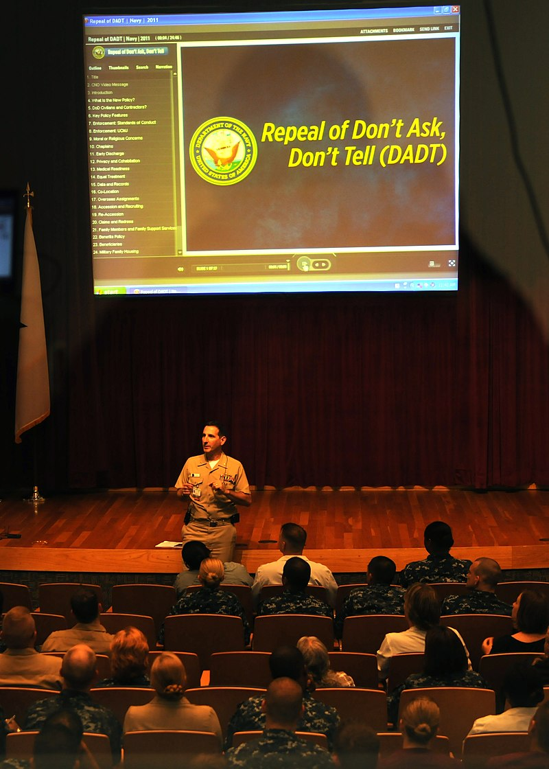 US Navy 110505-N-UB993-004 Capt. Joel A. Roos conducts Don%27t Ask Don%27t Tell (DADT) Repeal training for enlisted, officer and civilian staff of Nava.jpg