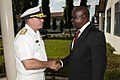 US Navy 110803-N-OV802-124 Rear Adm. Kenneth K.J. Norton shakes hands with Maj. Gen. Sylvester Rioba during an office call as part of Africa Partne.jpg
