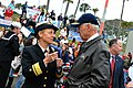 US Navy 111208-N-DG679-081 ear Adm. Nora Tyson, commander of Carrier Strike Group (CSG) 2, speaks with Vice President Joe Biden while they wait for.jpg