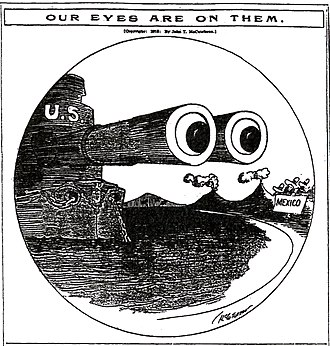 United States involvement in the Mexican Revolution - The United States are ever watchful over the presumed chaos in Mexico (Chicago Tribune 1913)