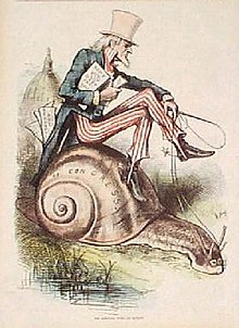 Antikk gravering som viser en eldre mann kledd i Amerikas farger, holder et dokument og kjører på en snegl