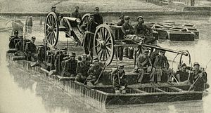 Battle of Pace's Ferry - Union artillery and infantry cross the Chattahoochee River in a canvas pontoon boat